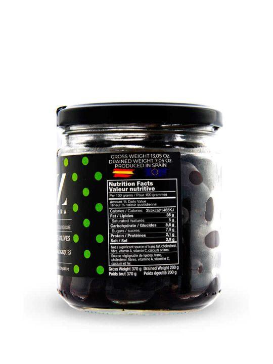 Aceitunas Negras de Aragón Variedad Empeltre ECO de Oleazara lateral
