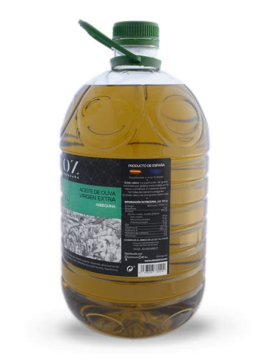 Garrafa AOVE Arbequina 5L Oleazara lateral